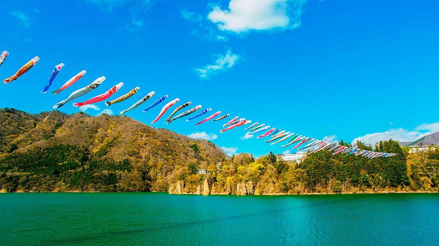 Carp Streamers, Akaya Lake (Gunma)